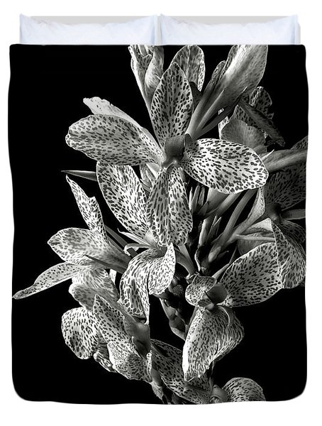 Leopard Lily In Black And White Duvet Cover