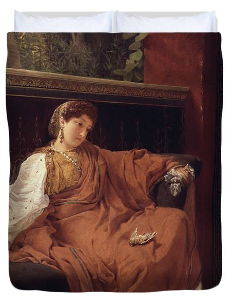 Lesbia Weeping Over A Sparrow Duvet Cover by Sir Lawrence Alma-Tadema