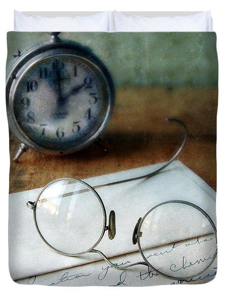 Letter Pen Glasses And Clock Duvet Cover by Jill Battaglia