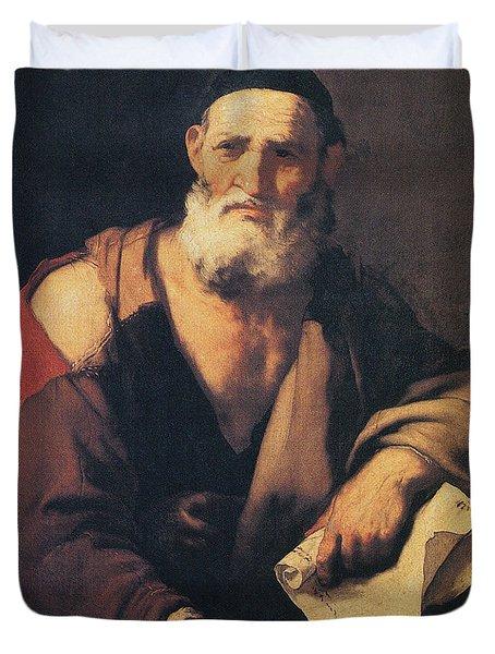 Leucippus, Ancient Greek Philosopher Duvet Cover by Science Source