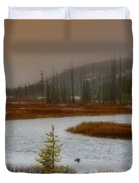 Lewis River - Yellowstone National Park Duvet Cover by Ellen Heaverlo