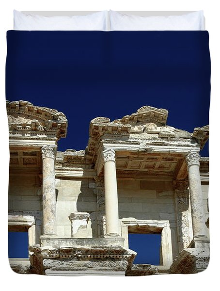 Library Of Celsus In Ephesus Duvet Cover by Sally Weigand