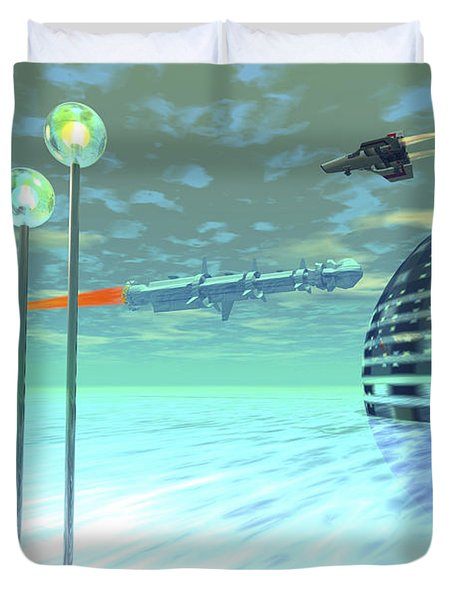 Life Under Domes On An Alien Waterworld Duvet Cover by Corey Ford