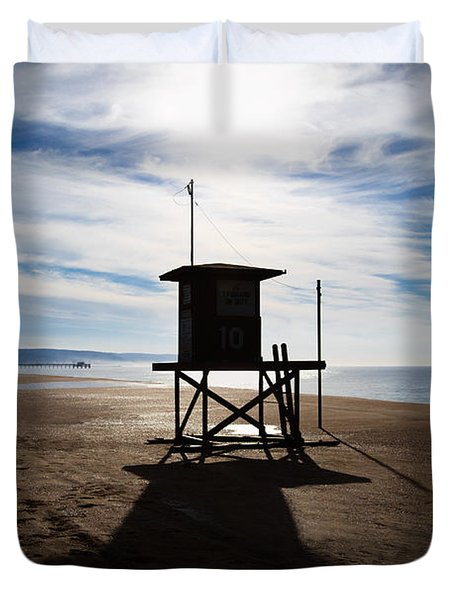 Lifeguard Tower Newport Beach California Duvet Cover by Paul Velgos
