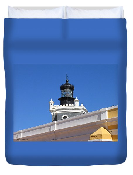 Lighthouse At Puerto Rico Castle Duvet Cover by Suhas Tavkar