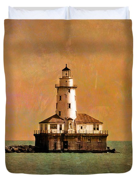 Lighthouse Off Navy Pier Duvet Cover by Mary Machare