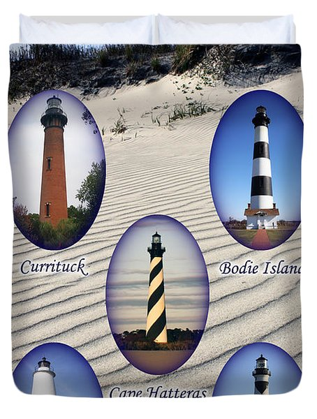 Duvet Cover featuring the photograph Lighthouses Of The Outer Banks by Tony Cooper