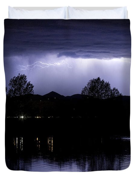 Lightning Over Coot Lake Duvet Cover by James BO  Insogna