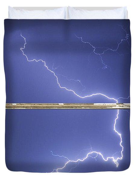 Lightning Strike White Barn Picture Window Frame Photo Art  Duvet Cover by James BO  Insogna