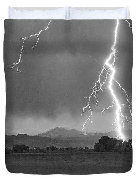 Lightning Striking Longs Peak Foothills 5bw Crop Duvet Cover by James BO  Insogna
