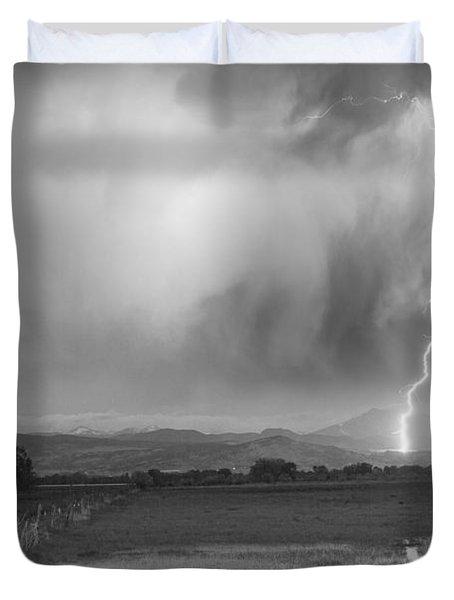 Lightning Striking Longs Peak Foothills 6bw Duvet Cover by James BO  Insogna