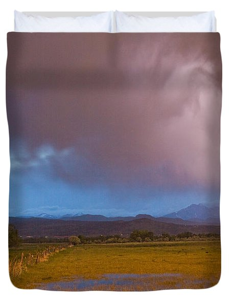 Lightning Striking Longs Peak Foothills 7 Duvet Cover by James BO  Insogna