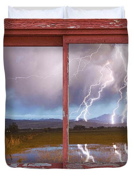 Lightning Striking Longs Peak Red Rustic Picture Window Frame Duvet Cover by James BO  Insogna