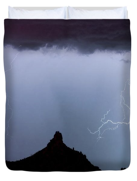 Lightning Thunderstorm At Pinnacle Peak Duvet Cover by James BO  Insogna