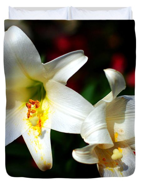Lilium Longiflorum Flower Duvet Cover by Paul Ge