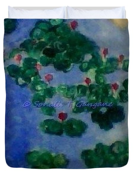 Duvet Cover featuring the painting Lily Pond by Sonali Gangane