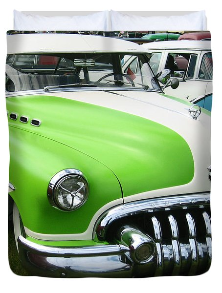 Lime Green 1950s Buick Duvet Cover by Kym Backland