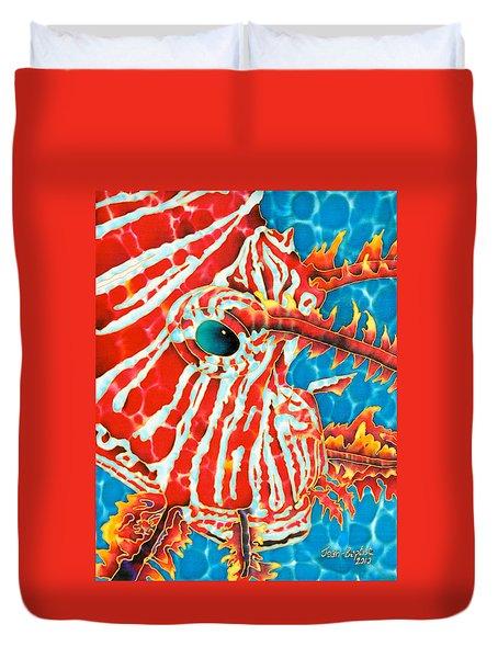 Lion Fish Face Duvet Cover by Daniel Jean-Baptiste