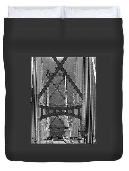 Duvet Cover featuring the photograph Lions Gate Bridge by John Schneider
