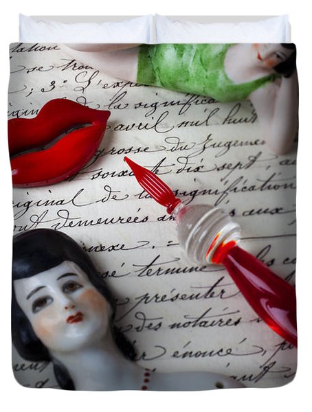 Lips Pen And Old Letter Duvet Cover