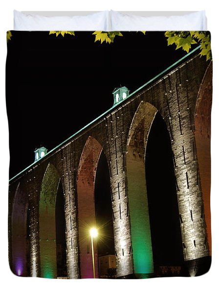 Lisbon Historic Aqueduct By Night Duvet Cover