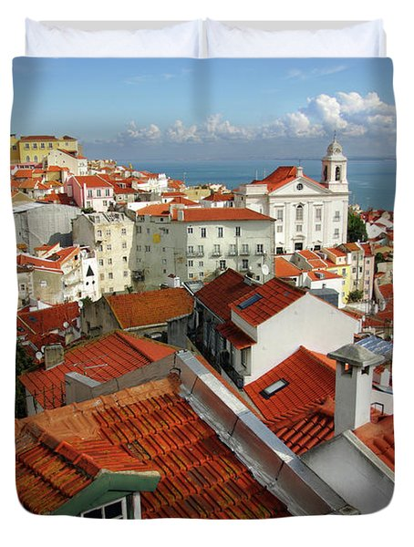 Lisbon Rooftops Duvet Cover by Carlos Caetano