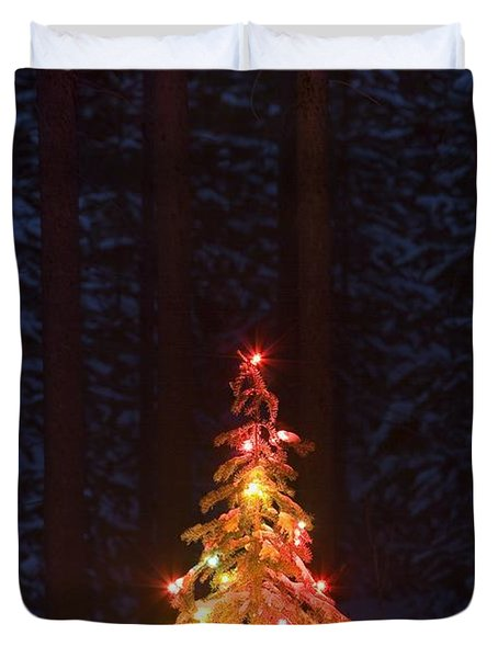 Lit Christmas Tree In A Forest Duvet Cover by Carson Ganci