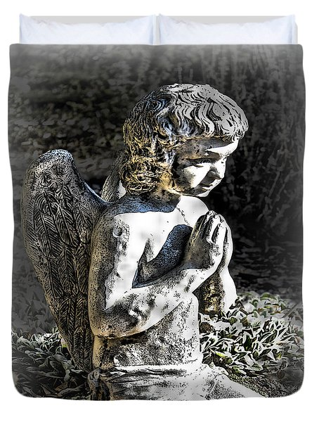 Little Angel Statue Duvet Cover by Danuta Bennett