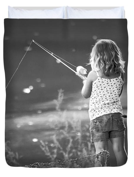 Little Fishing Girl Duvet Cover