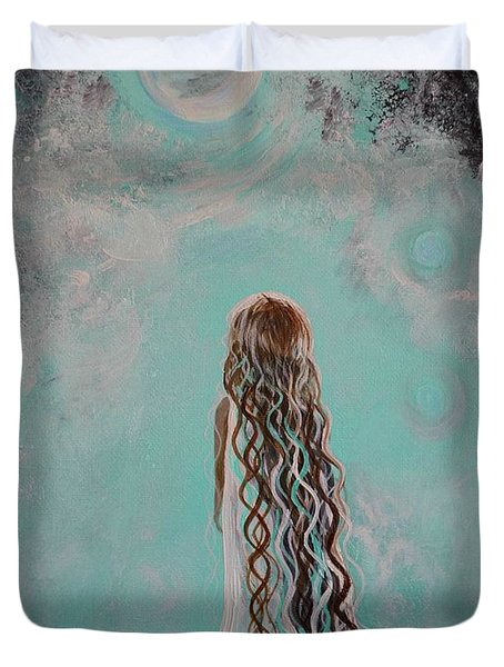 Little Galaxie Three Duvet Cover by Leslie Allen