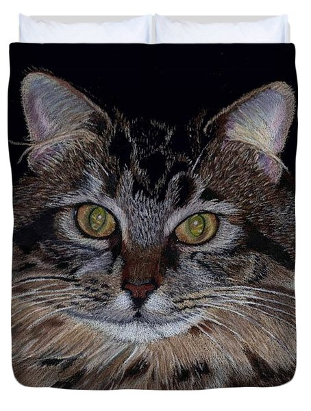 Little Girl - Maine Coon Cat Painting Duvet Cover