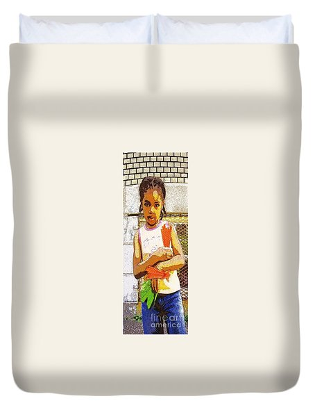 Little Girl With Red Licorice And Maple Leaf Duvet Cover by Lydia Lockett
