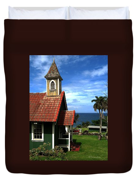 Little Green Church In Hawaii Duvet Cover