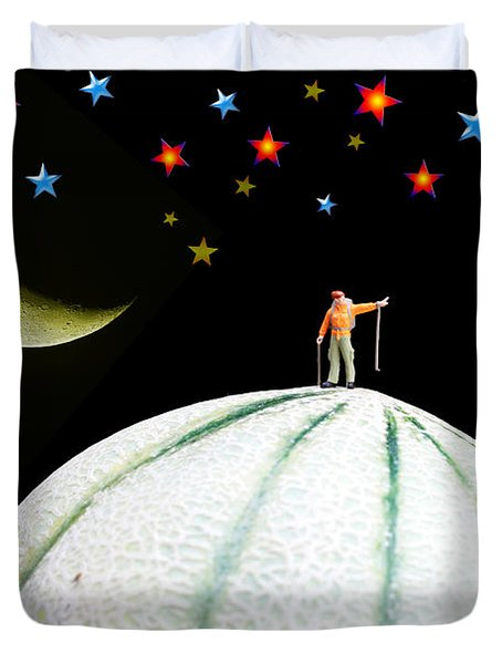 Little People Hiking On Fruits Under Starry Night Duvet Cover by Paul Ge