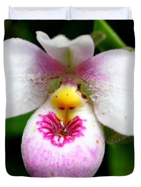 Little White And Pink Orchid Duvet Cover