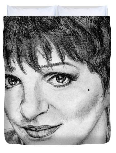 Duvet Cover featuring the drawing Liza Minnelli In 2006 by J McCombie