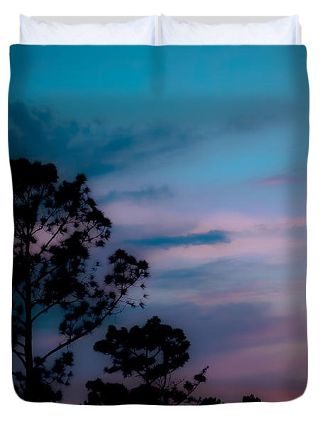 Loblelly Pine Silhouette Duvet Cover by DigiArt Diaries by Vicky B Fuller