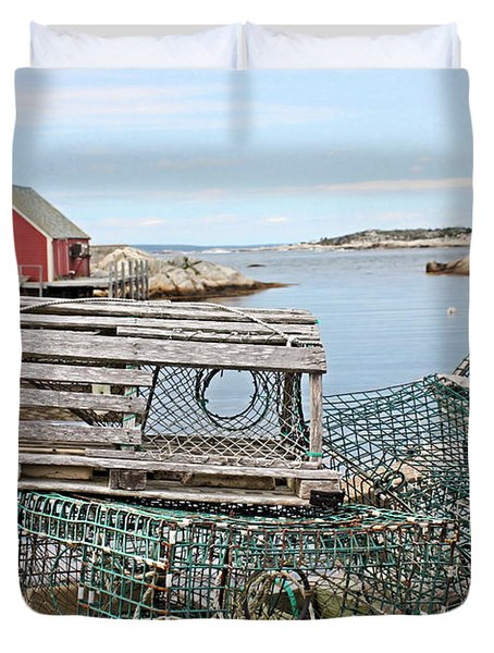 Lobster Pots Duvet Cover by Kristin Elmquist