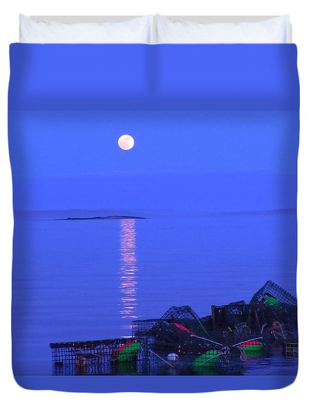 Duvet Cover featuring the photograph Lobstering Moon by Francine Frank