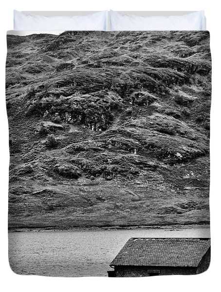 Loch Arklet Boathouse Duvet Cover by Chris Thaxter