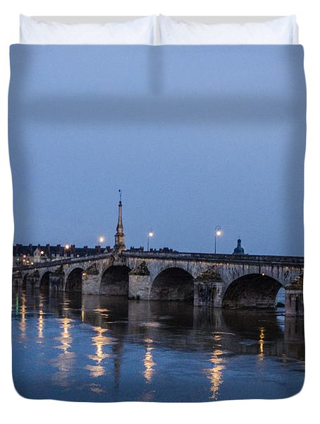 Loire River By Night Duvet Cover