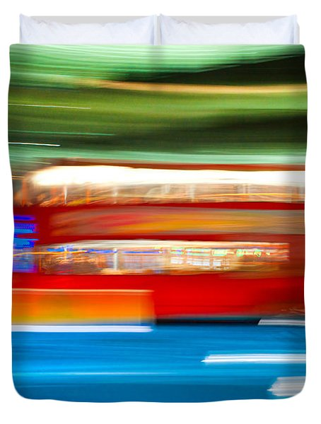 Duvet Cover featuring the photograph London Bus Motion by Luciano Mortula