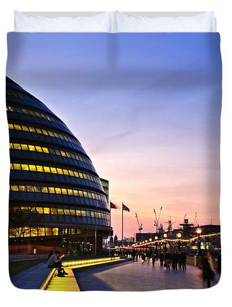 London City Hall At Night Duvet Cover by Elena Elisseeva