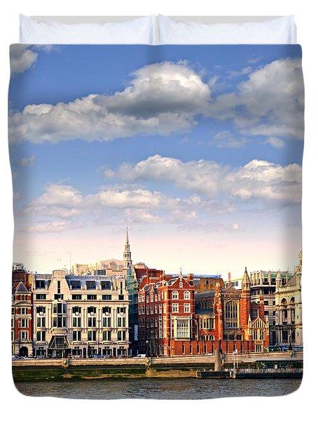London Skyline From Thames River Duvet Cover by Elena Elisseeva
