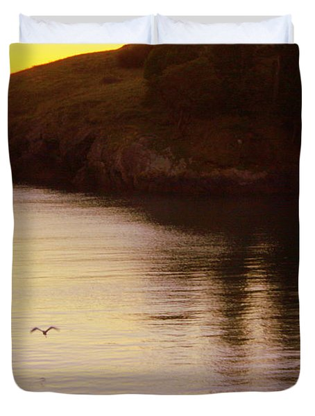 Lone Bird At Rosario Beach Point Duvet Cover by Randall Thomas Stone