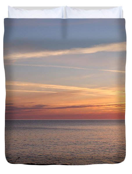 Duvet Cover featuring the photograph Lone Freighter On Up by Bonfire Photography
