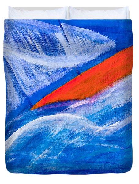 Lone Sailing Boat At Sea Duvet Cover by Simon Bratt Photography LRPS