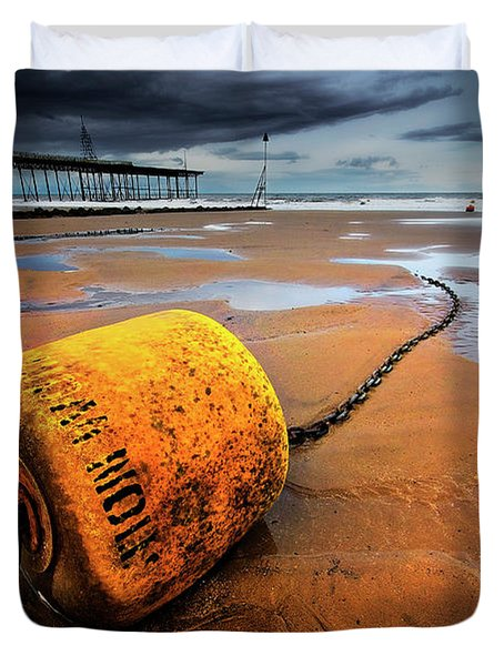 Lonely Yellow Buoy Duvet Cover by Meirion Matthias