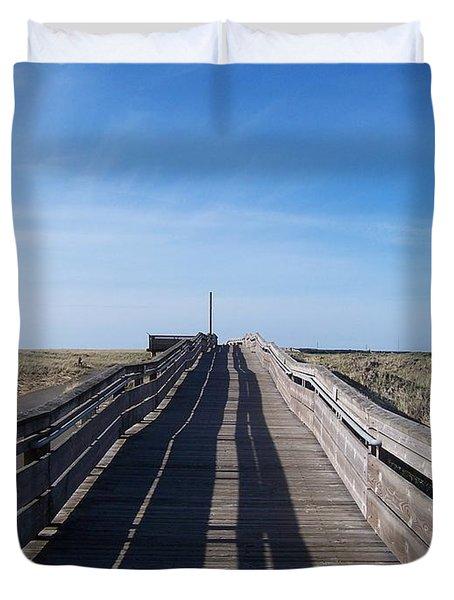 Long Beach Boardwalk Duvet Cover by Peter Mooyman