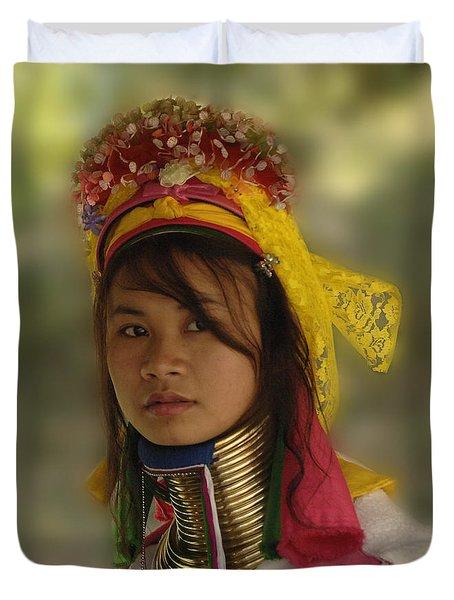 Long Neck Beauty Karen Tribe Duvet Cover by Bob Christopher